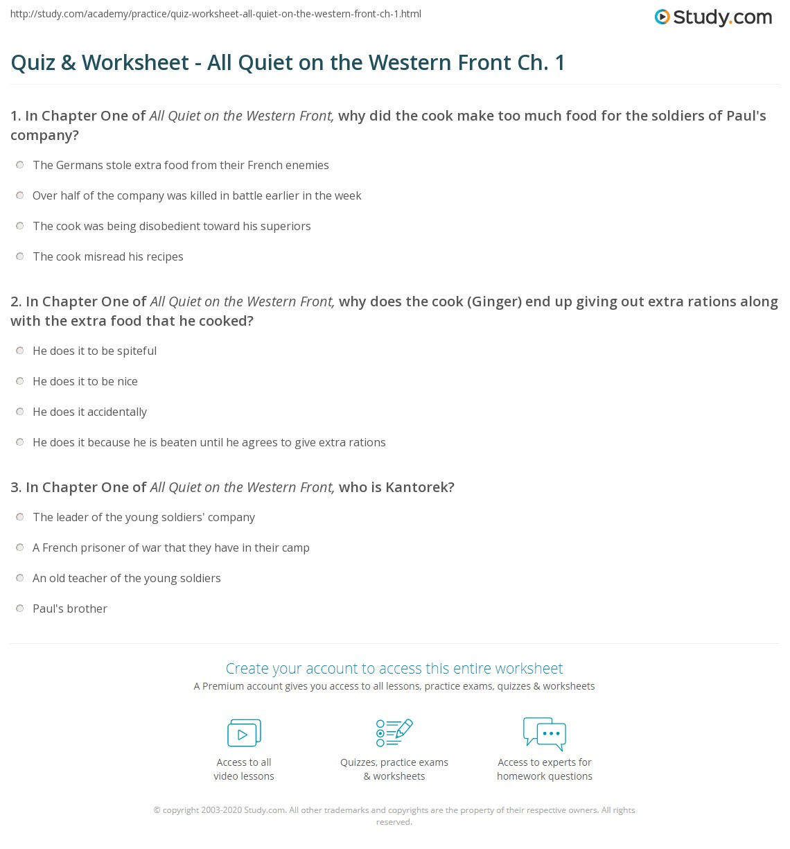 All Quiet On The Western Front Worksheet: quiz worksheet all quiet on the western front ch 1 study,