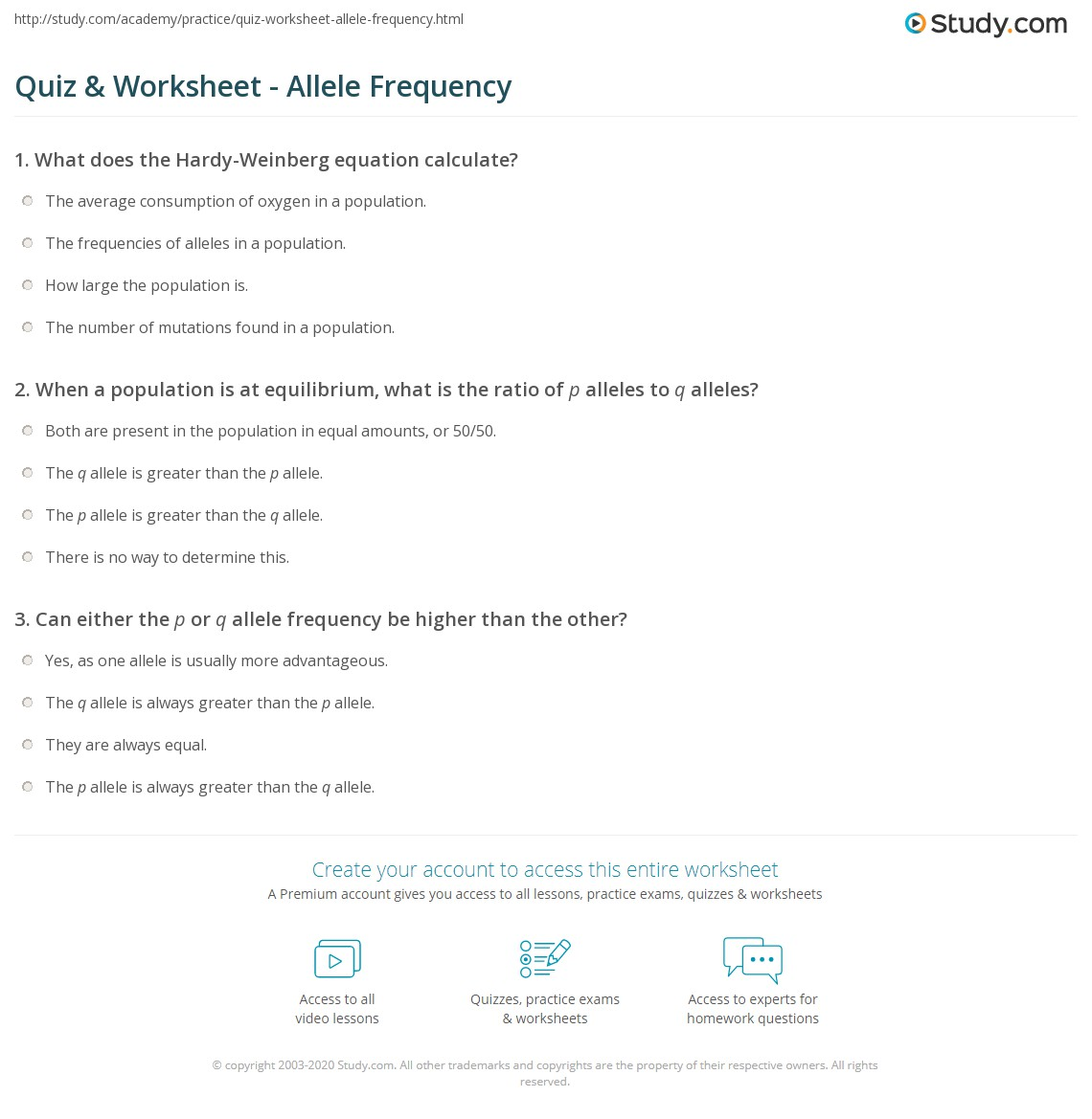 Quiz & Worksheet - Allele Frequency