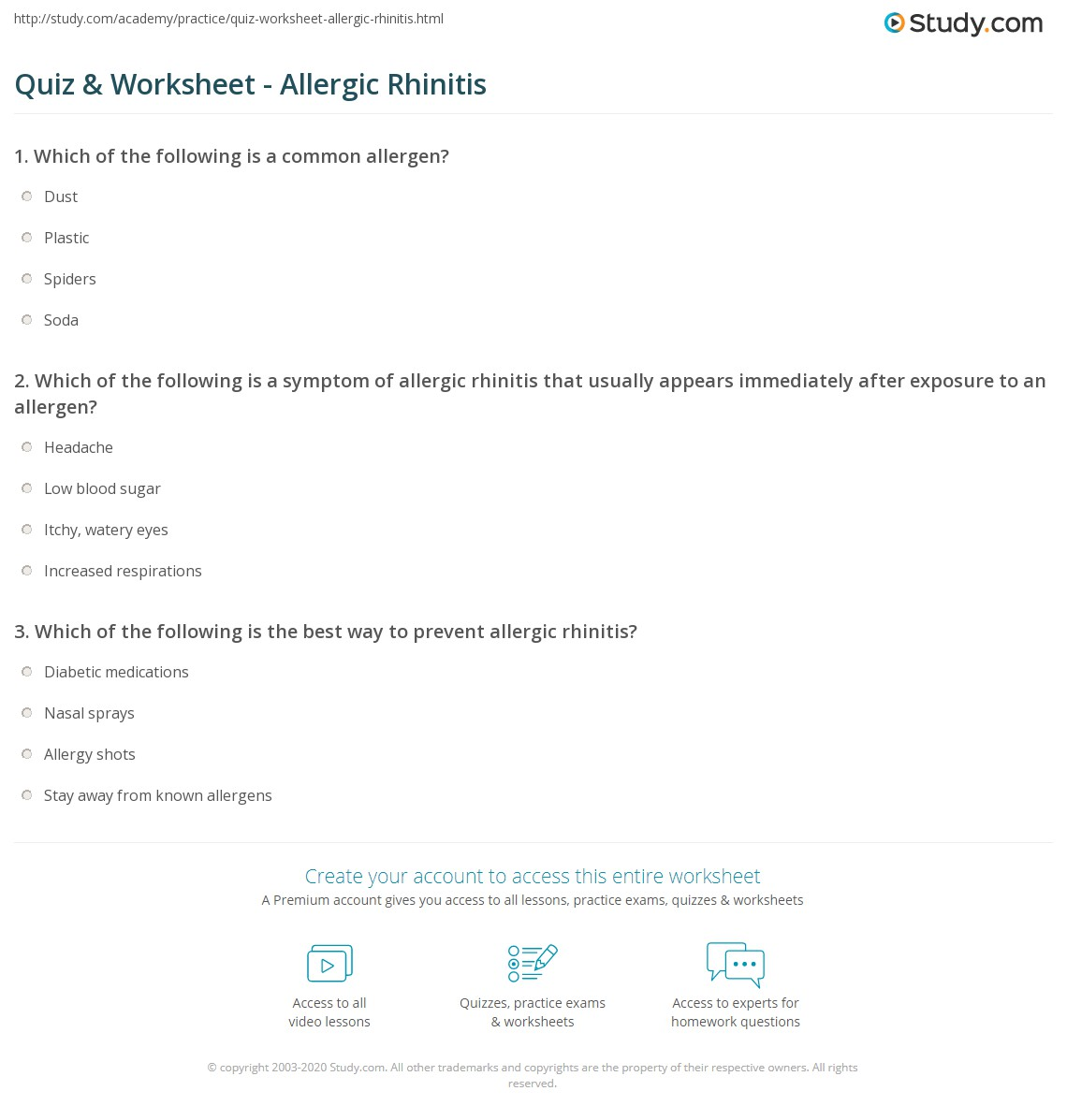 quiz worksheet allergic rhinitis. Black Bedroom Furniture Sets. Home Design Ideas
