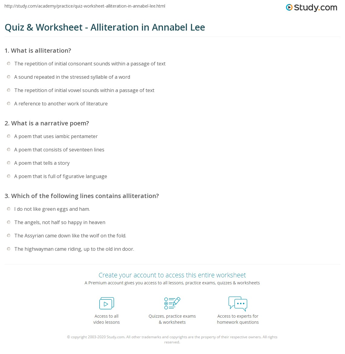 quiz worksheet alliteration in annabel lee com print alliteration in annabel lee worksheet