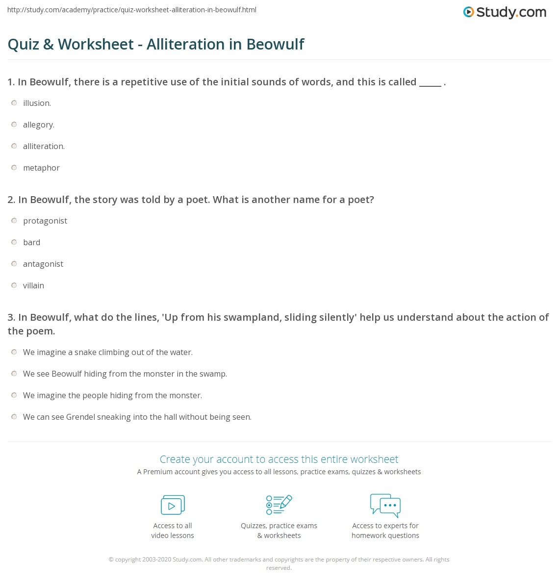 Quiz Worksheet Alliteration in Beowulf – Alliteration Worksheets
