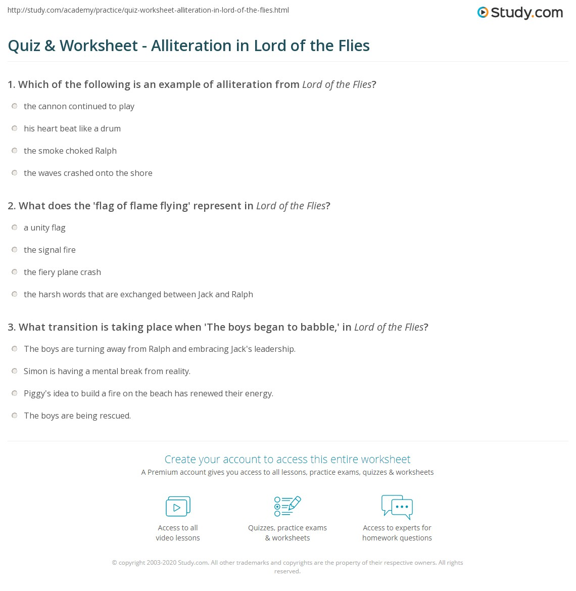 Quiz worksheet alliteration in lord of the flies study what does the flag of flame flying represent in lord of the flies buycottarizona