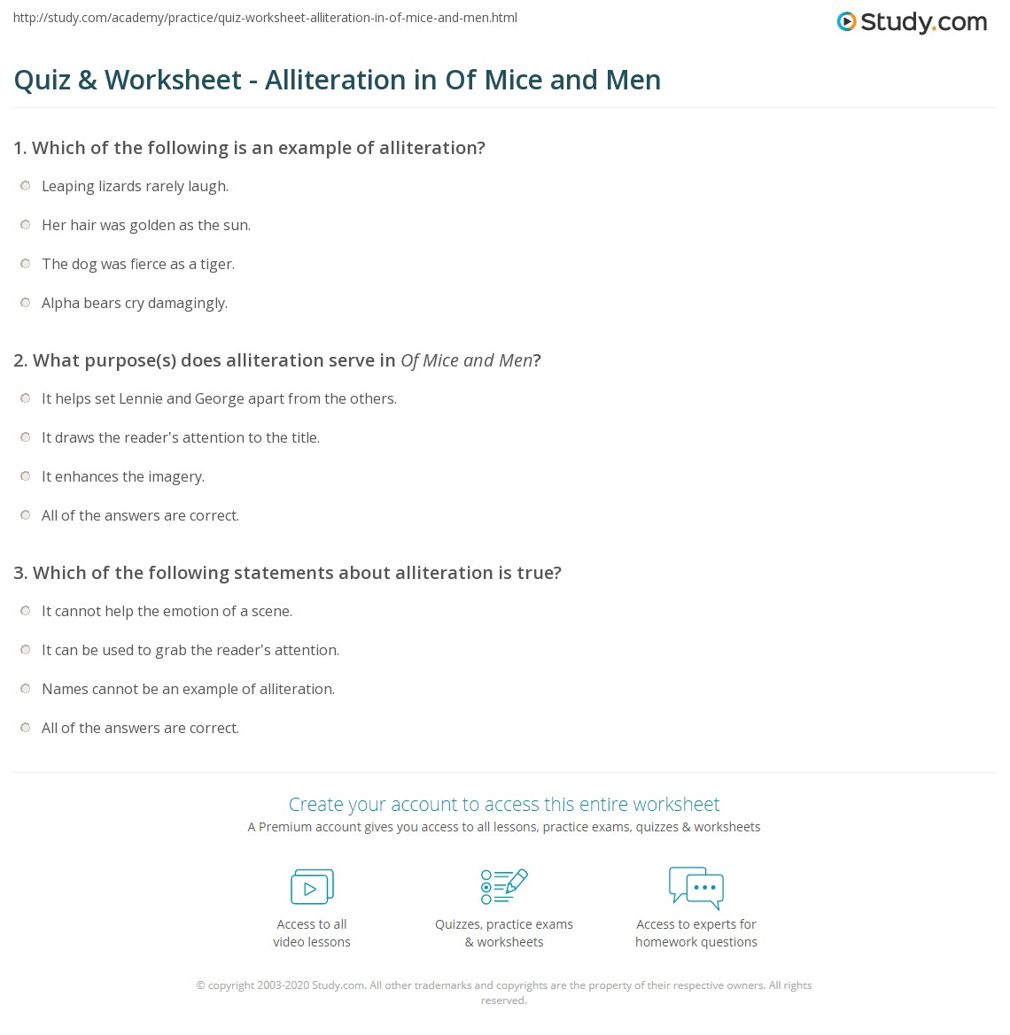 quiz worksheet alliteration in of mice and men com print alliteration in of mice and men worksheet