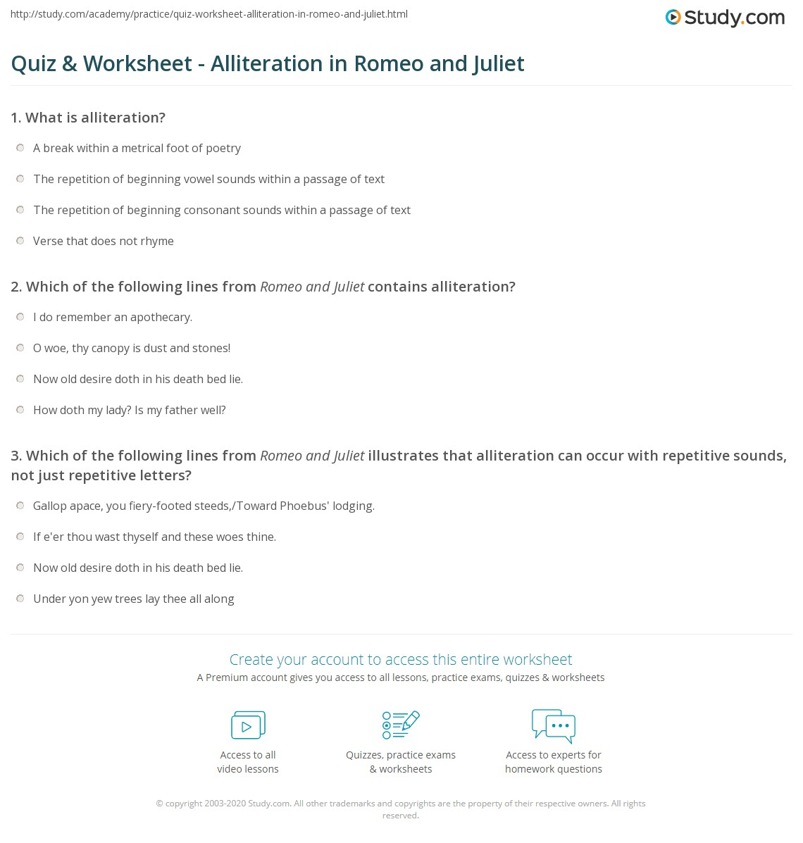 Quiz Worksheet Alliteration In Romeo And Juliet Study