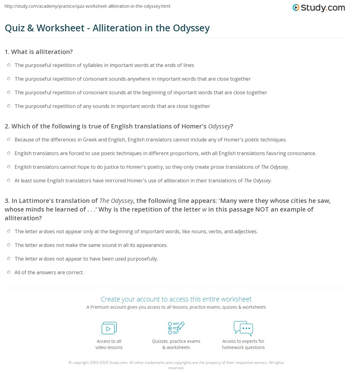 quiz worksheet alliteration in the odyssey. Black Bedroom Furniture Sets. Home Design Ideas