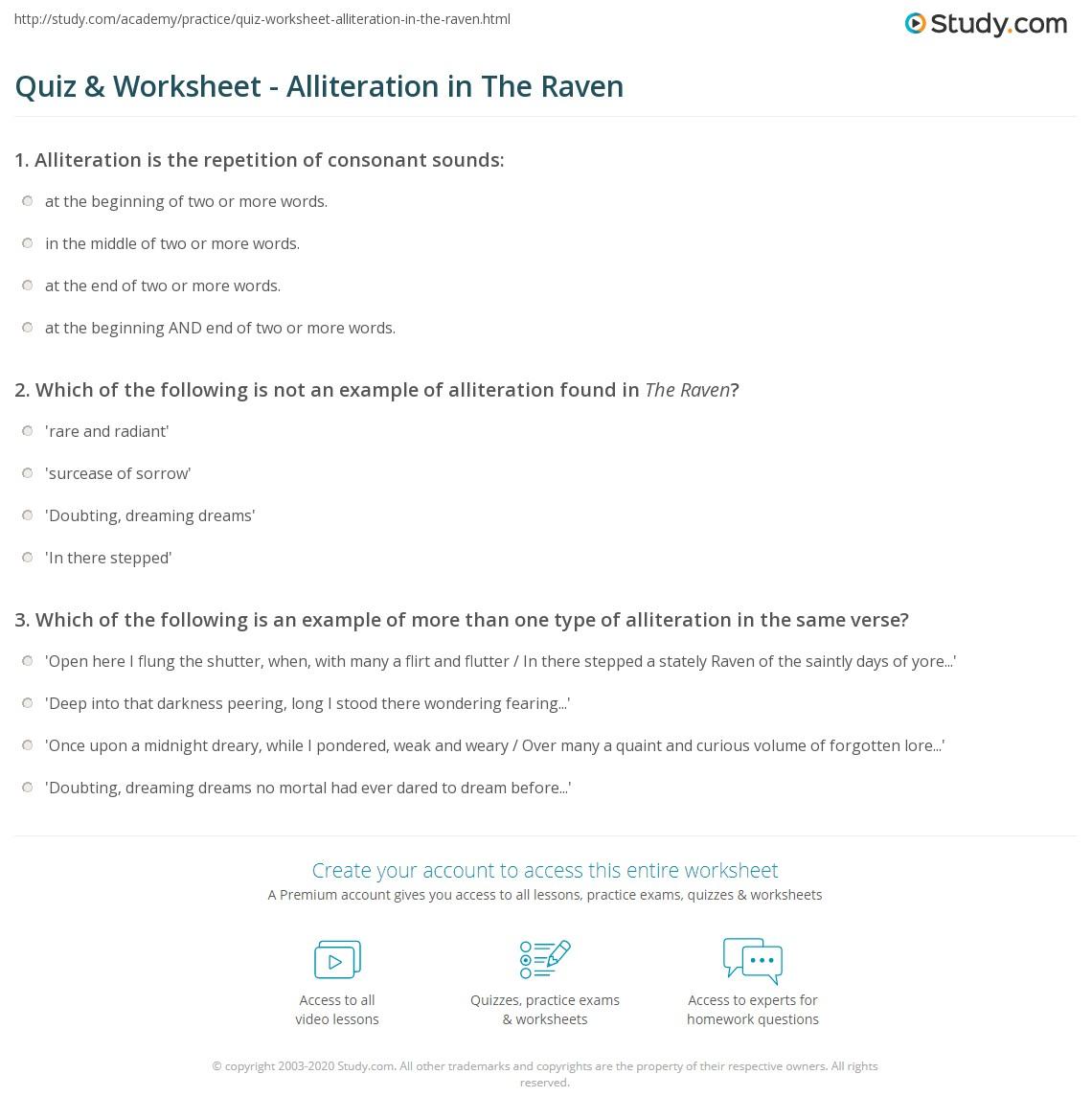 Quiz Worksheet Alliteration In The Raven Study