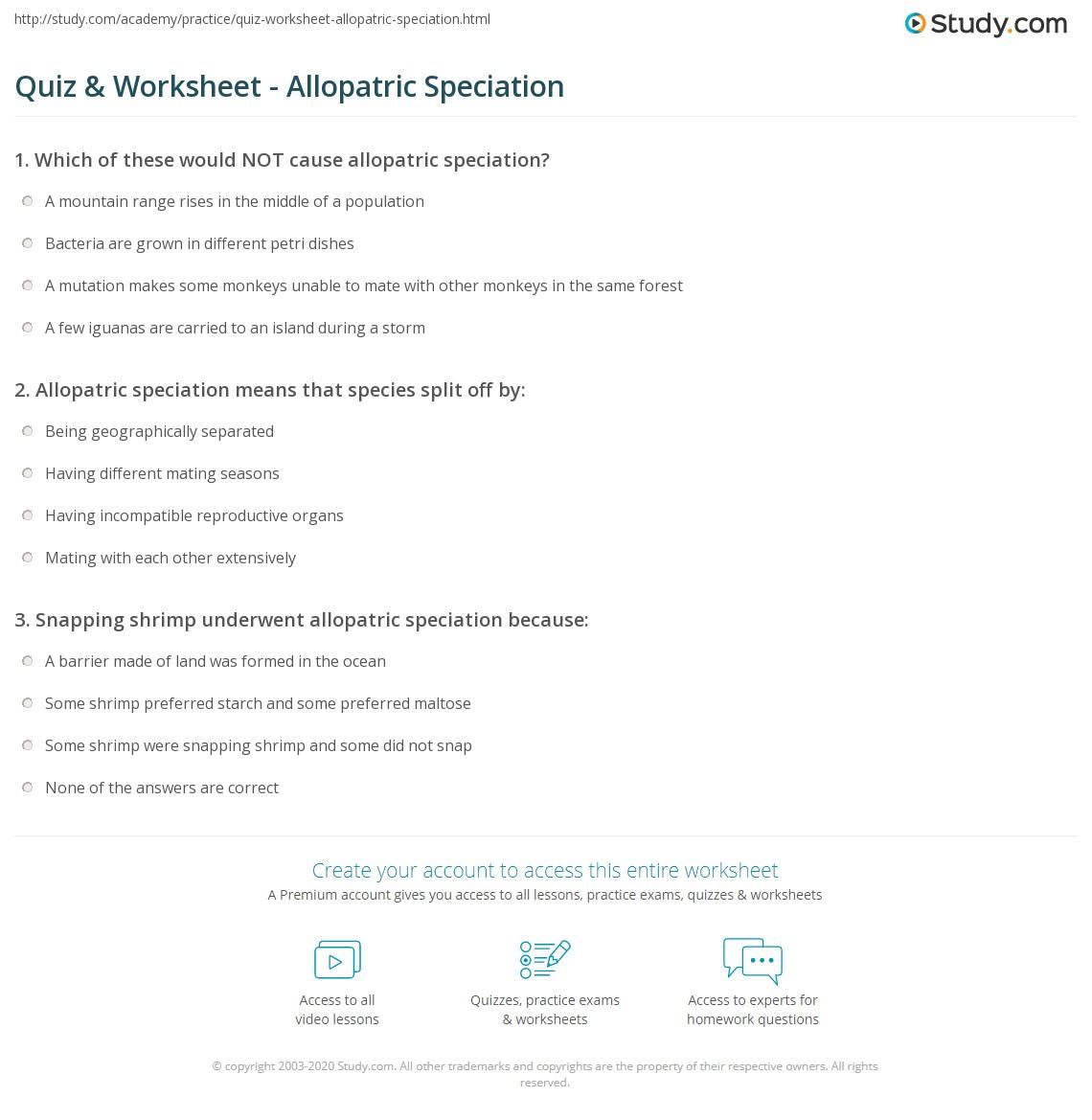 Quiz & Worksheet - Allopatric Speciation | Study.com