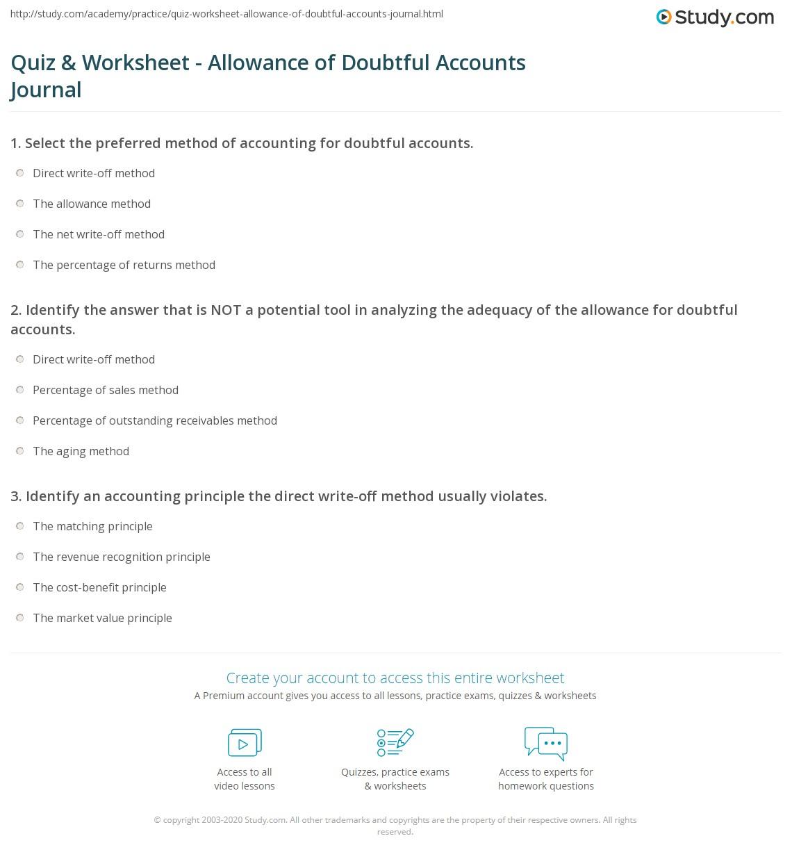 worksheet Journal Entry Worksheet quiz worksheet allowance of doubtful accounts journal study com print entry worksheet