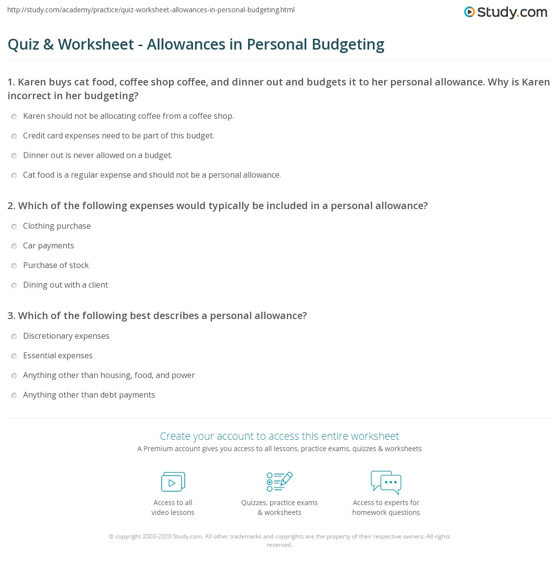 quiz worksheet allowances in personal budgeting study com