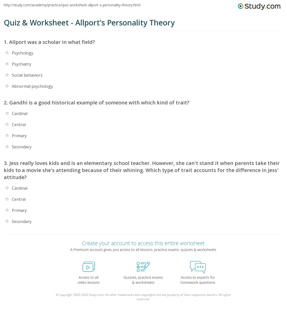 graphic regarding Personality Quiz Printable called Quiz Worksheet - Allports Individuality Principle