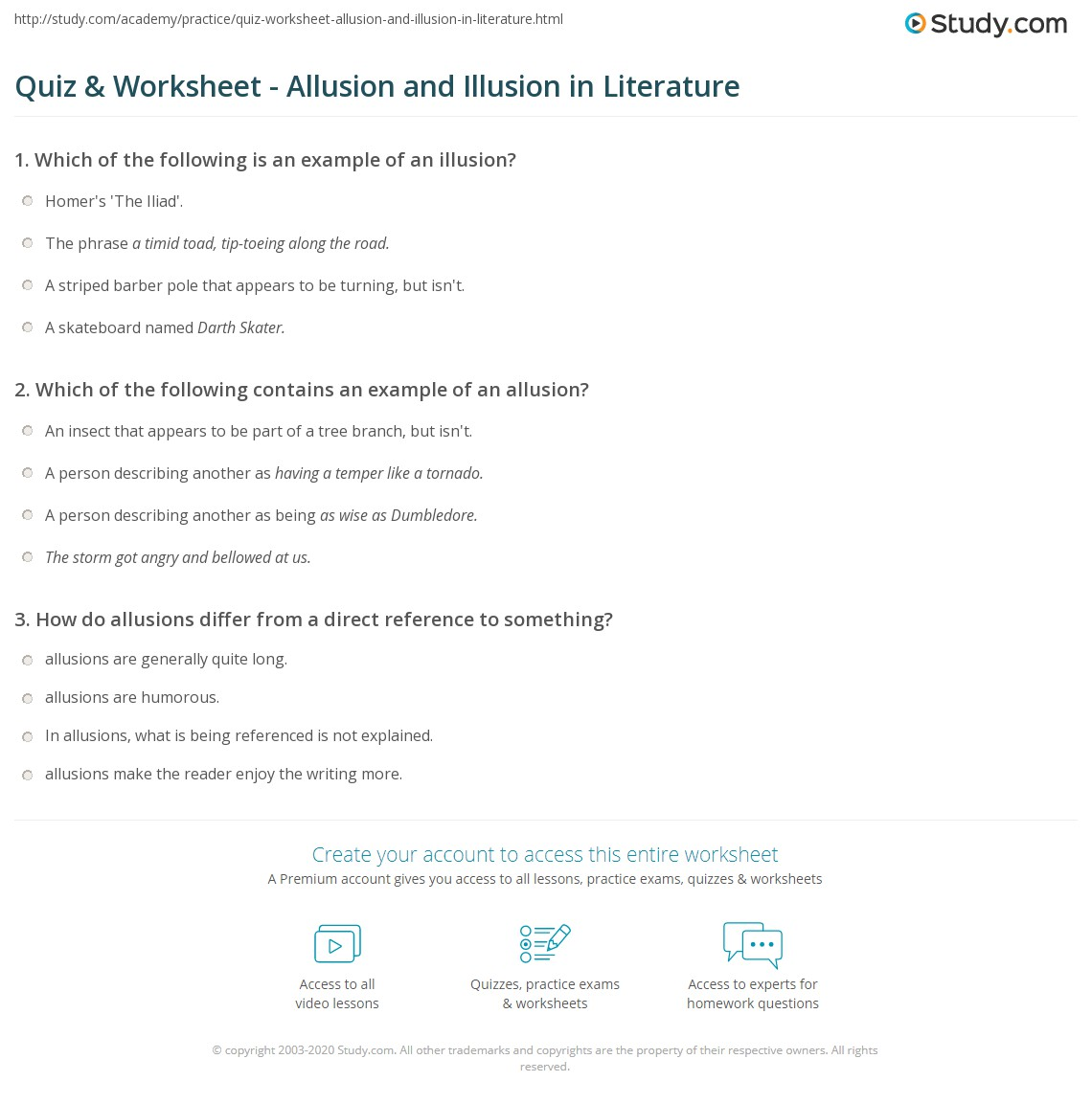 Quiz Worksheet Allusion And Illusion In Literature Study
