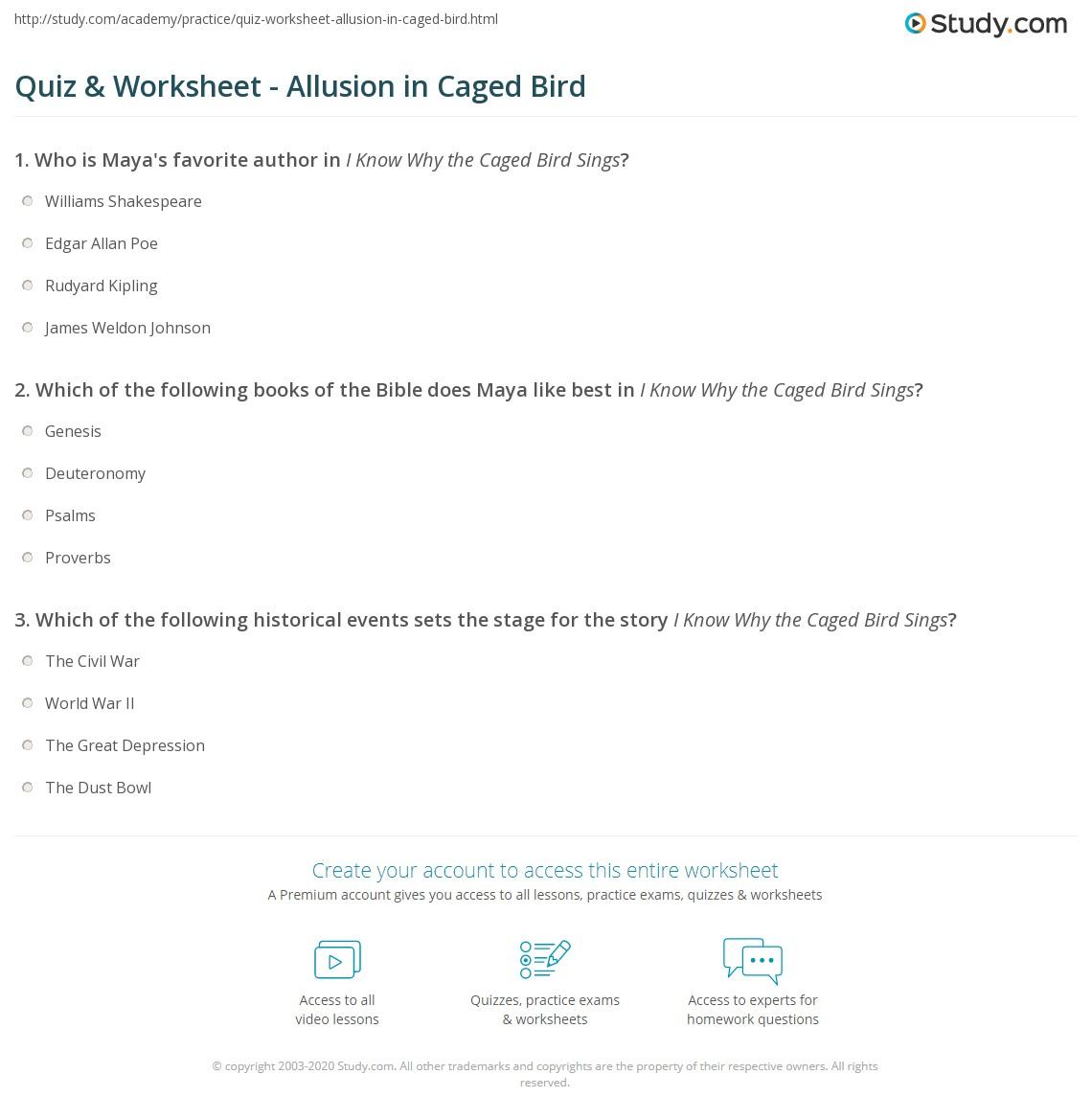 quiz worksheet allusion in caged bird. Black Bedroom Furniture Sets. Home Design Ideas