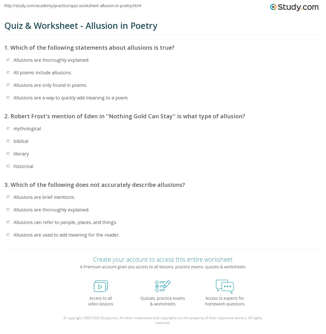 Quiz Worksheet Allusion In Poetry Study