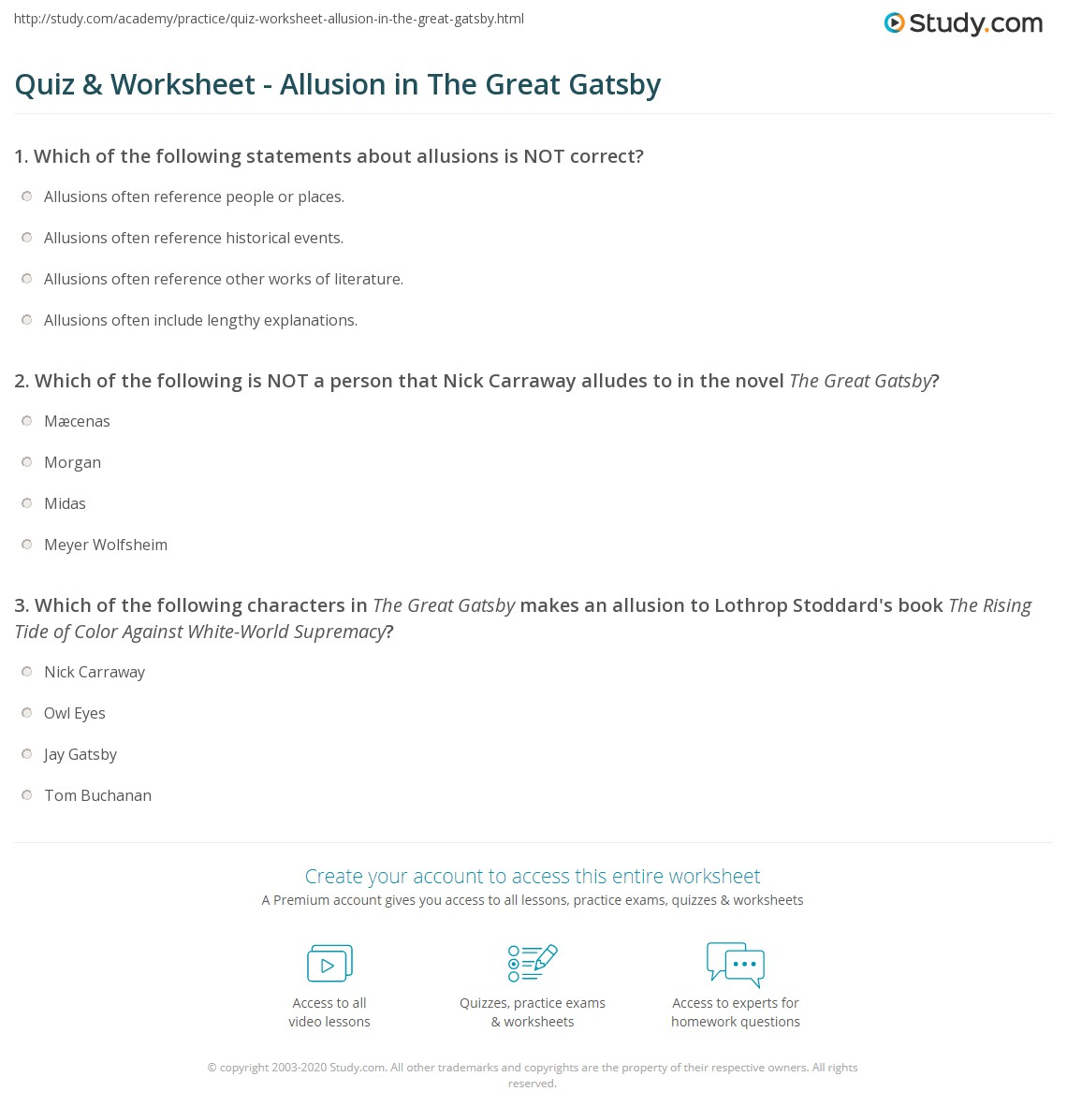Quiz Worksheet Allusion In The Great Gatsby Study Com