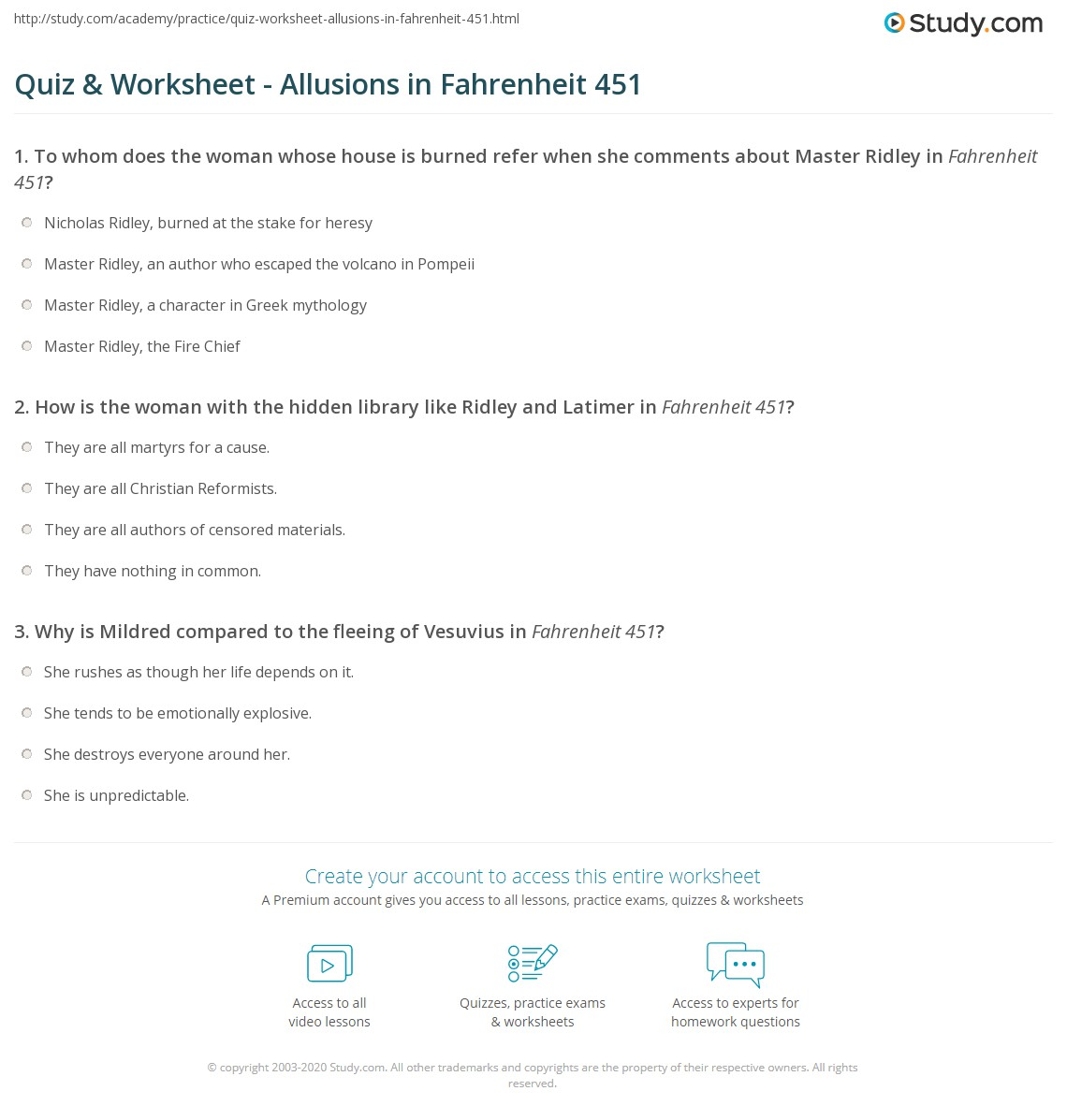 Quiz Worksheet Allusions In Fahrenheit 451 Study Com