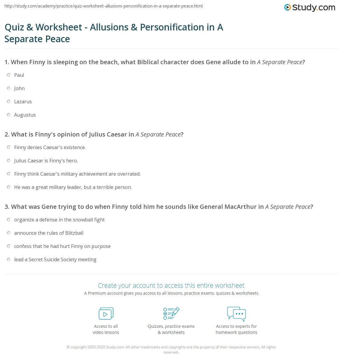 Quiz Worksheet Allusions Personification In A Separate Peace
