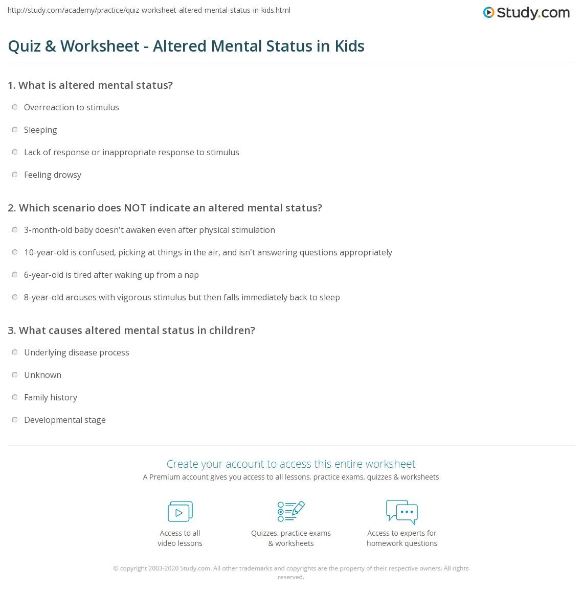 Quiz & Worksheet - Altered Mental Status in Kids   Study com