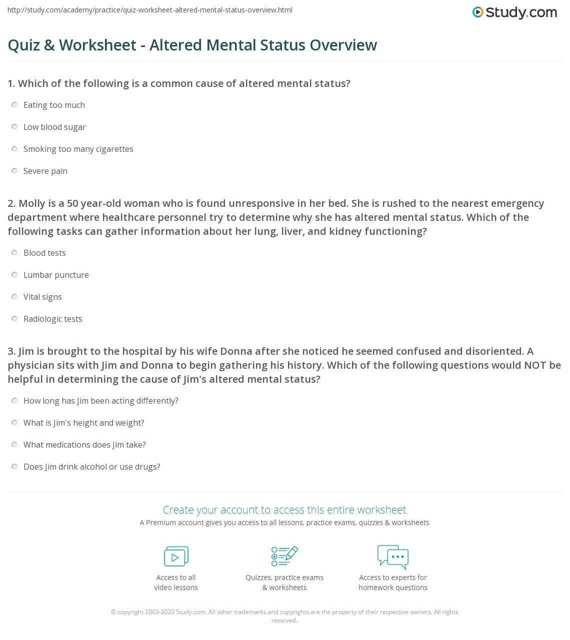 quiz worksheet altered mental status overview. Black Bedroom Furniture Sets. Home Design Ideas