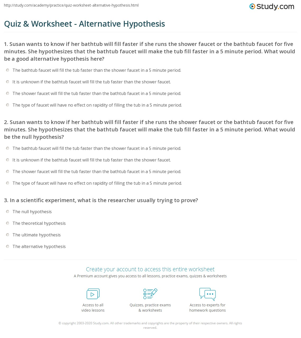 quiz worksheet alternative hypothesis. Black Bedroom Furniture Sets. Home Design Ideas