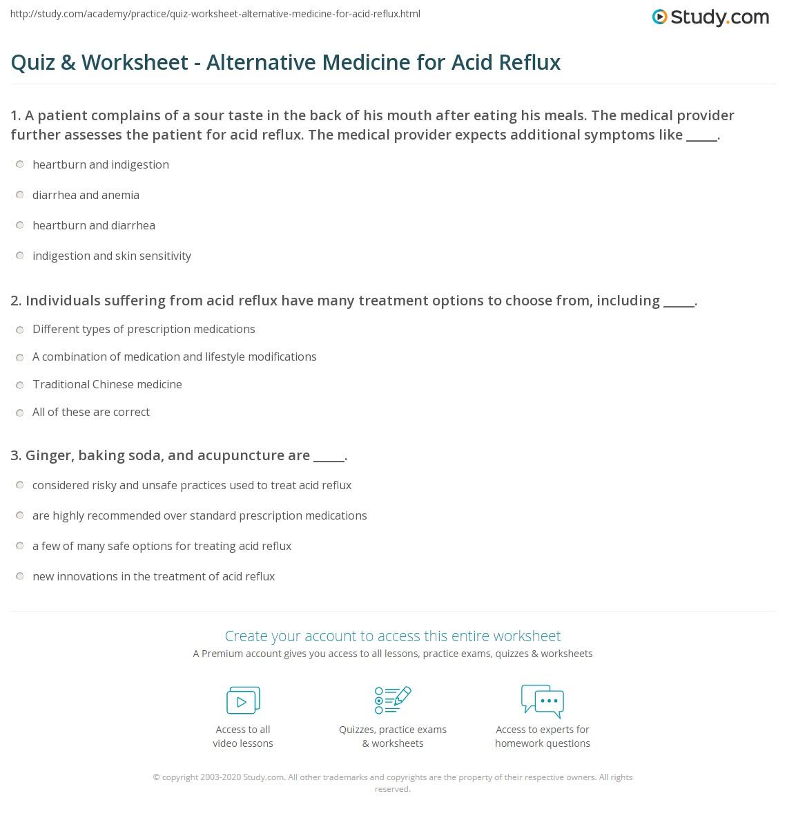 Quiz & Worksheet - Alternative Medicine for Acid Reflux | Study com