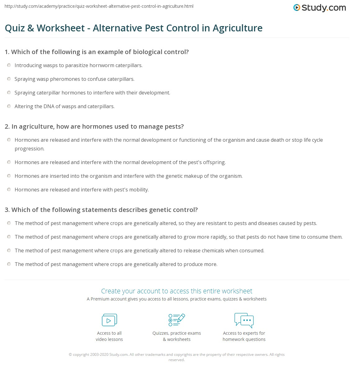 Worksheets Agriculture Worksheets quiz worksheet alternative pest control in agriculture study com print methods for agricultural use worksheet