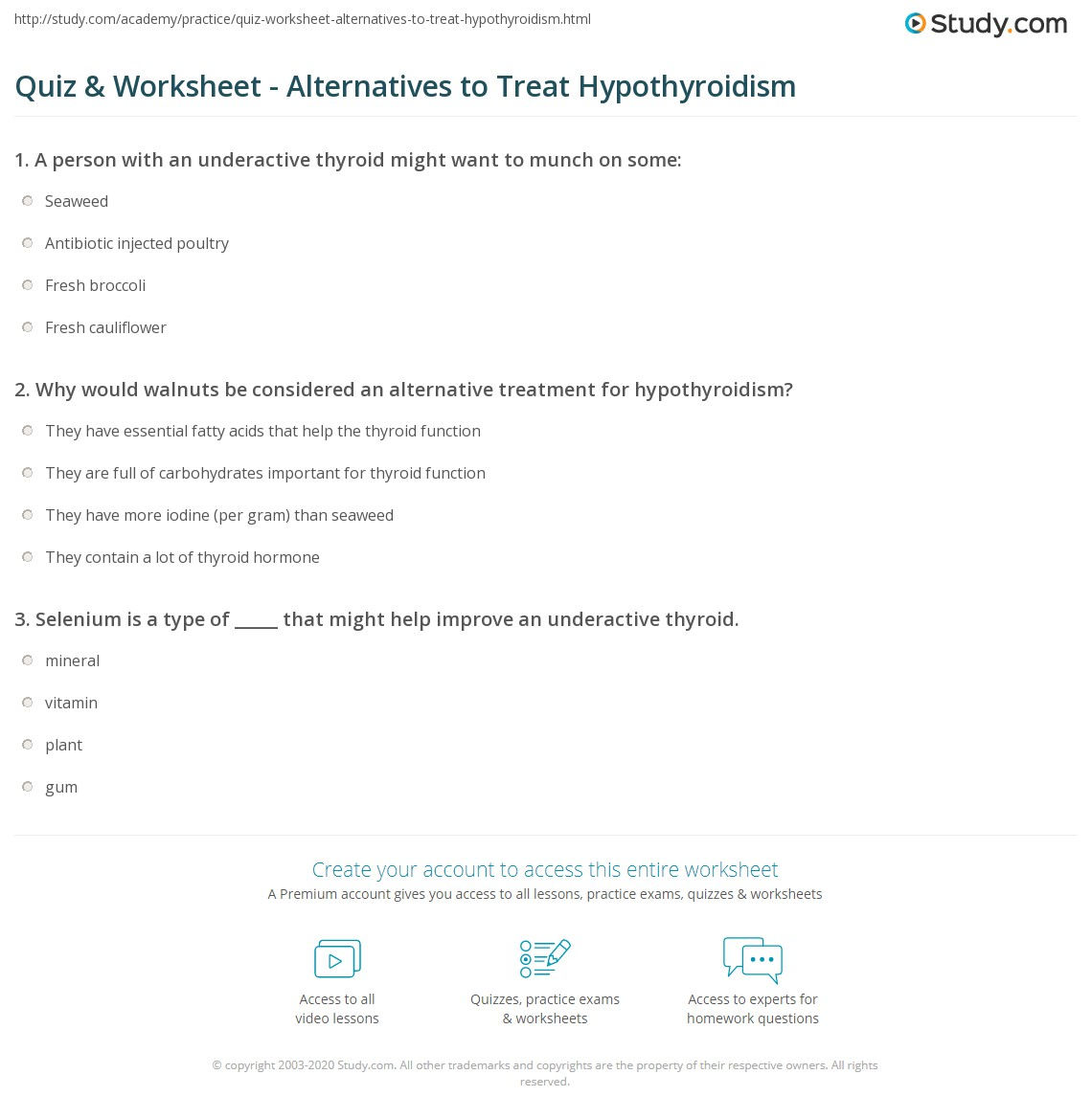 Quiz & Worksheet - Alternatives to Treat Hypothyroidism