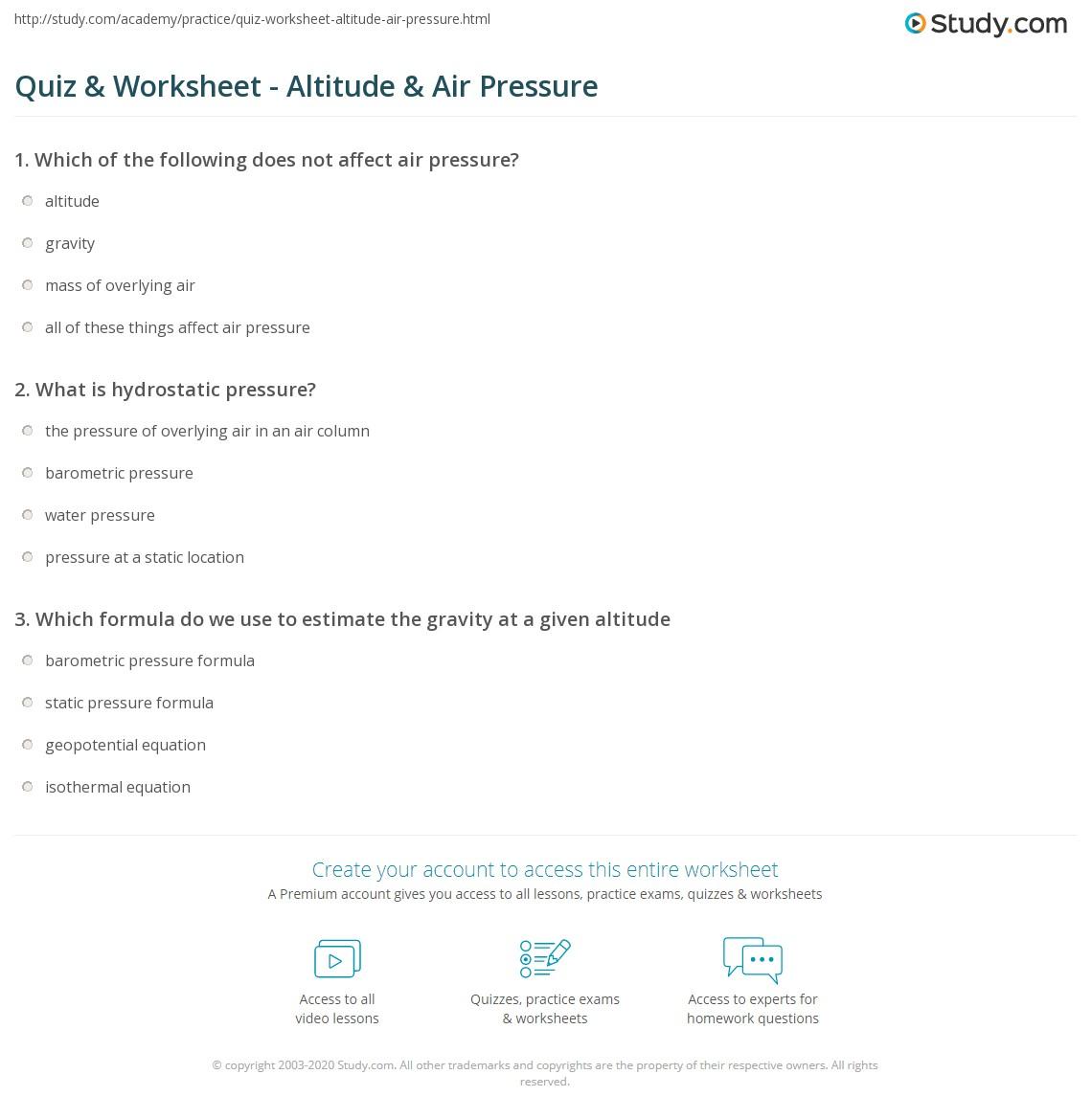 Quiz & Worksheet - Altitude & Air Pressure | Study.com