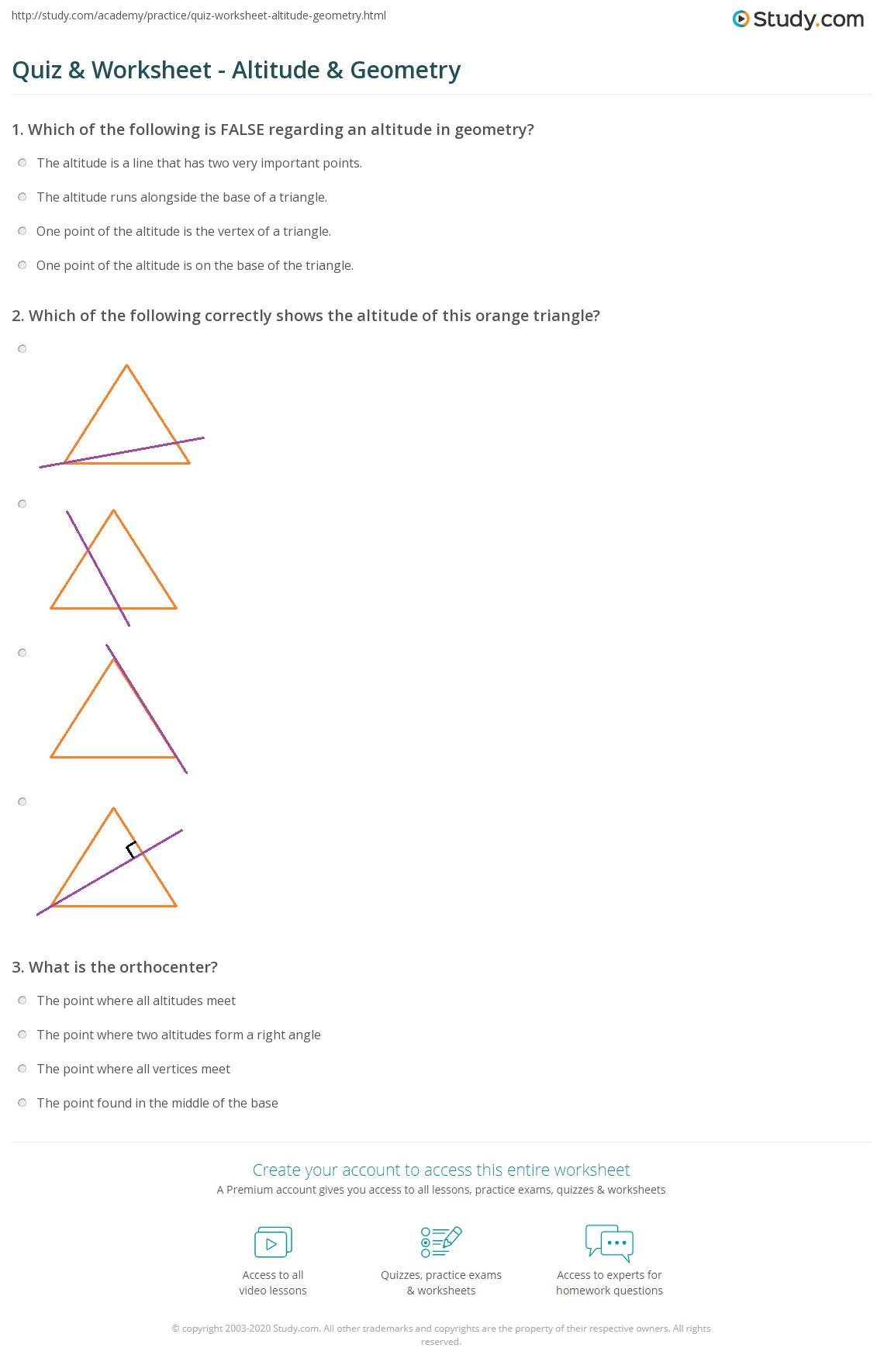 Quiz Worksheet Altitude Geometry Studycom - What is altitude