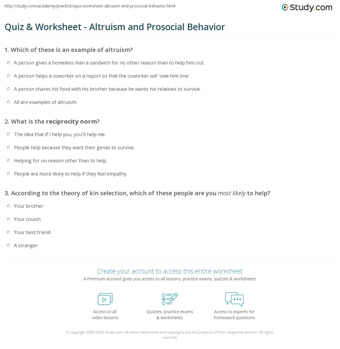 quiz & worksheet - altruism and prosocial behavior | study