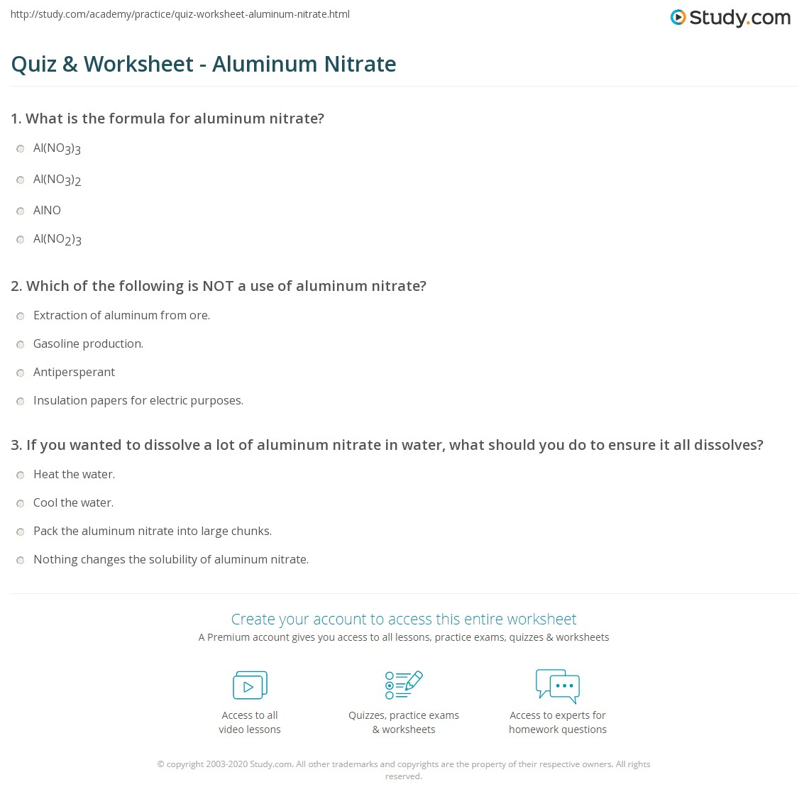 Quiz Worksheet Aluminum Nitrate Study