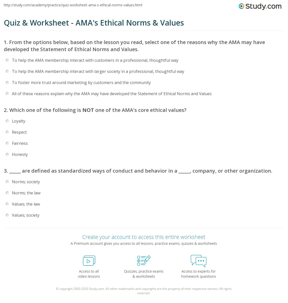 Quiz & Worksheet - AMA\'s Ethical Norms & Values | Study.com