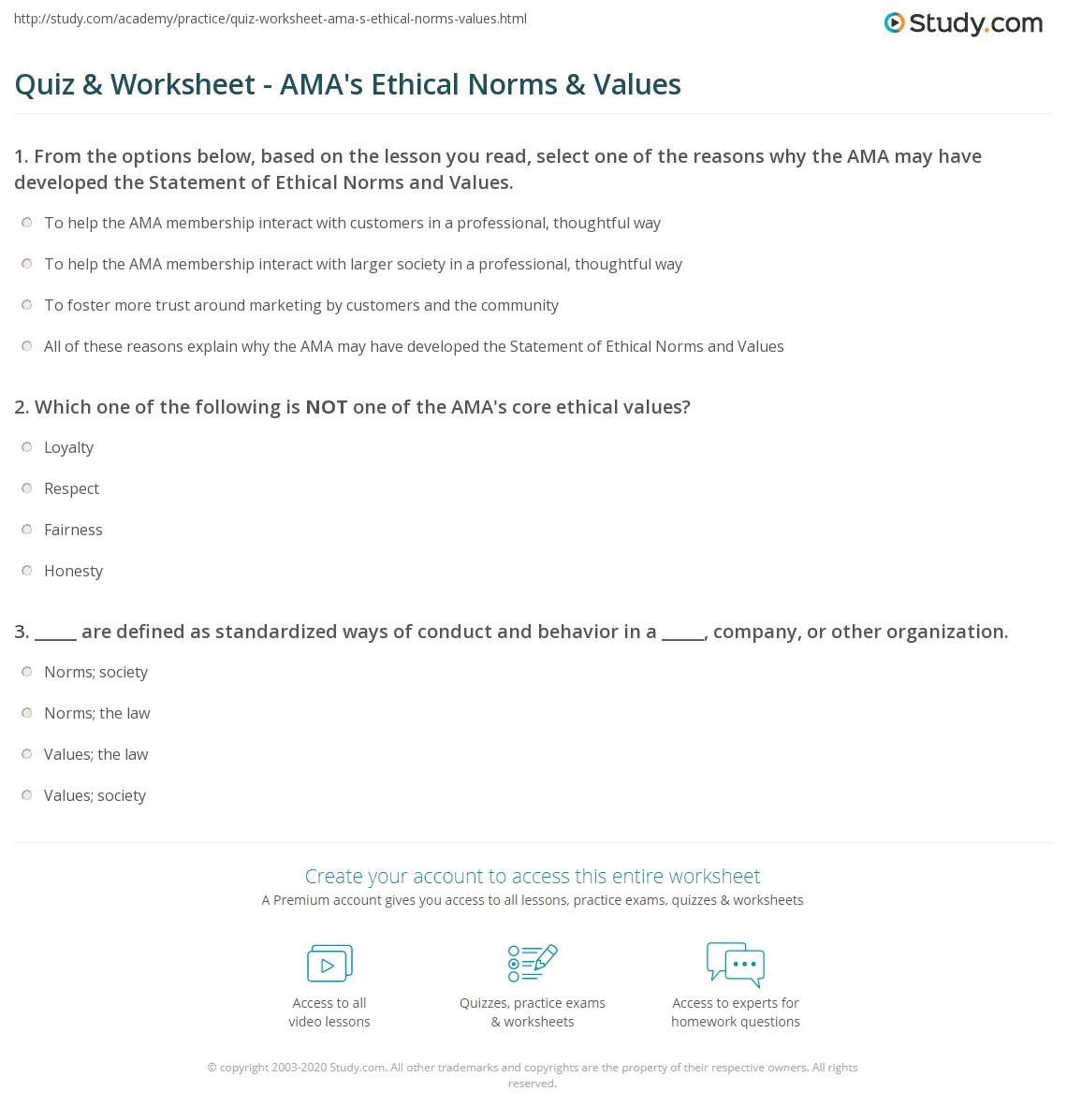 Worksheets Core Values Worksheet quiz worksheet amas ethical norms values study com print the ama statement of worksheet