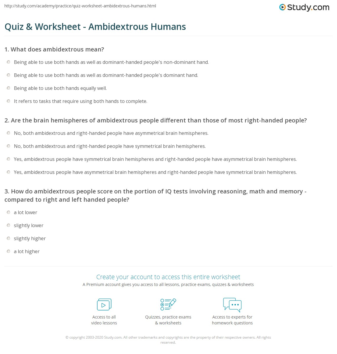 Quiz Worksheet Ambidextrous Humans – Hemisphere Worksheet