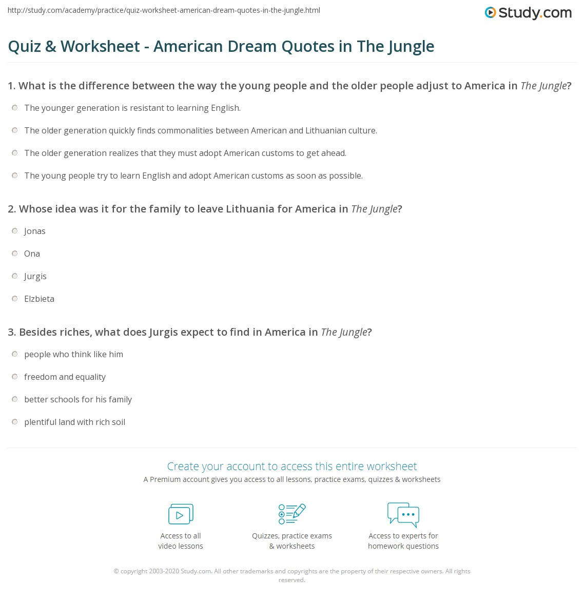 Quiz Worksheet American Dream Quotes In The Jungle Studycom