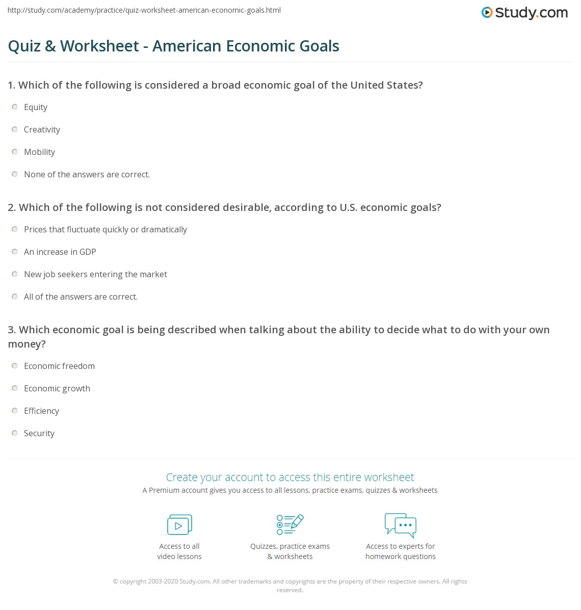 Quiz worksheet american economic goals study print economic goals for the us economy worksheet fandeluxe Gallery