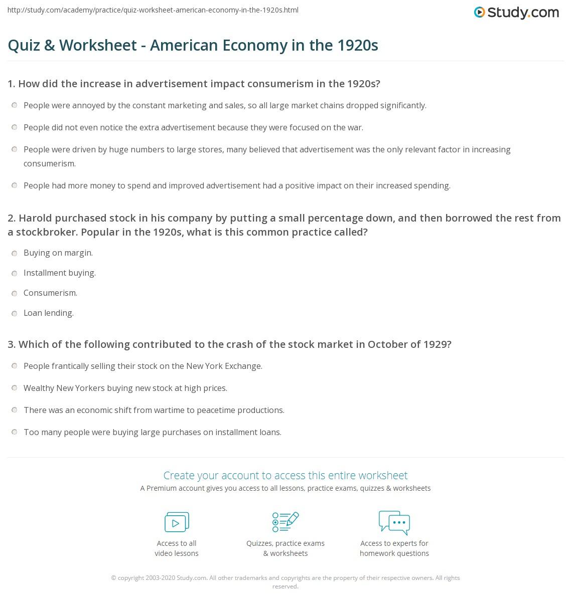 Quiz & Worksheet - American Economy in the 1920s   Study.com