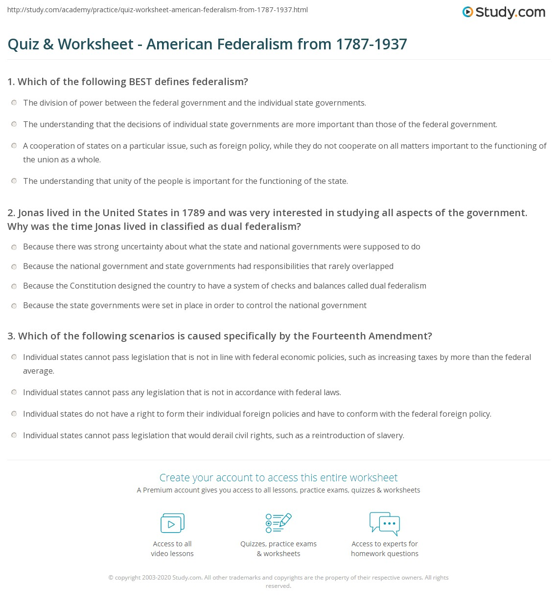 Quiz & Worksheet - American Federalism from 1787-1937   Study.com