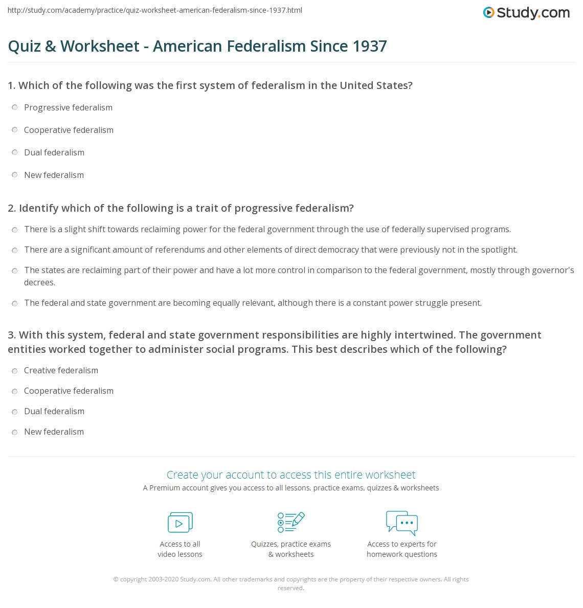 Quiz & Worksheet American Federalism Since 1937