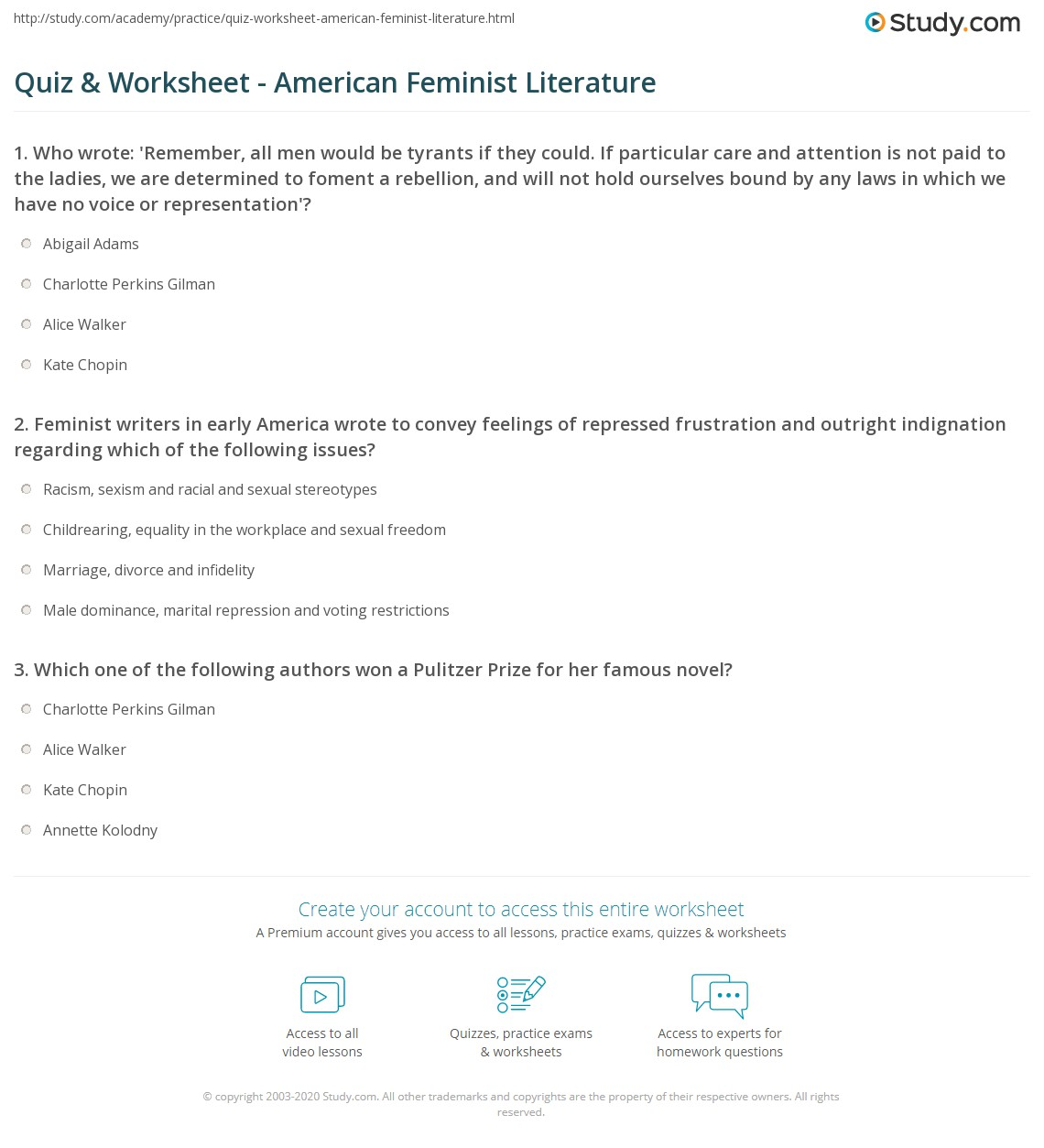 quiz worksheet american feminist literature com print american feminist literature definition characteristics worksheet