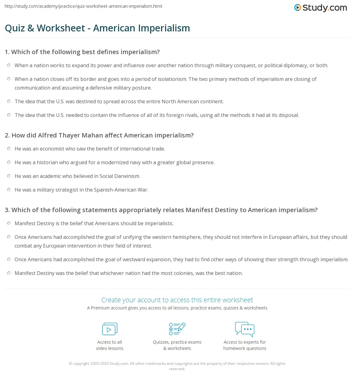 worksheet Manifest Destiny Worksheet quiz worksheet american imperialism study com print definition reasons rising international power worksheet