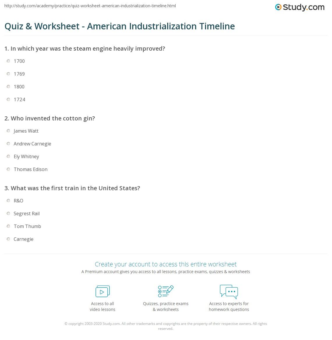quiz worksheet american industrialization timeline. Black Bedroom Furniture Sets. Home Design Ideas