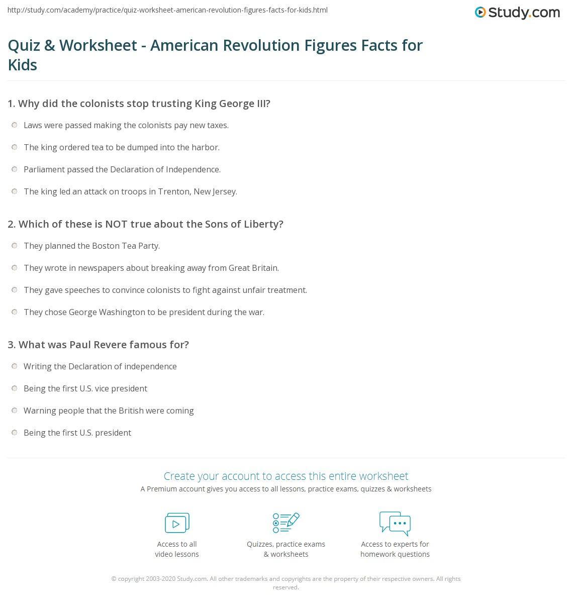 Quiz Worksheet American Revolution Figures Facts For Kids - American revolution facts