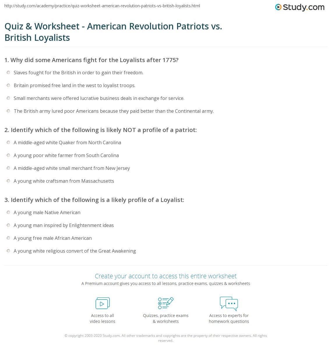 Quiz Worksheet American Revolution Patriots vs British – American Revolution Worksheet