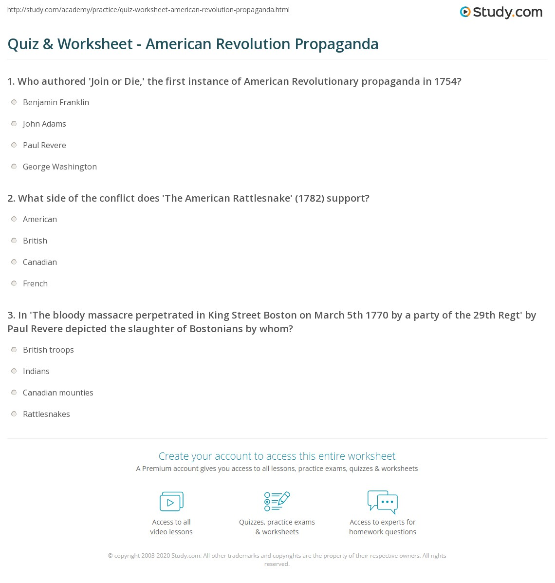 quiz worksheet american revolution propaganda com print american revolution propaganda examples posters worksheet