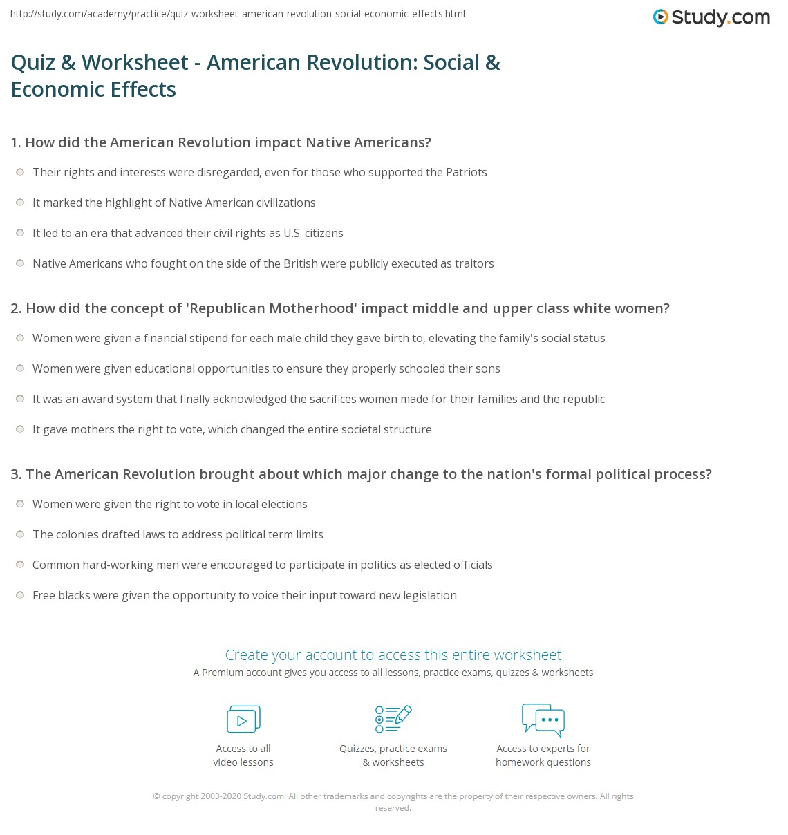 Worksheets Revolutionary War Worksheets quiz worksheet american revolution social economic effects print and impact worksheet