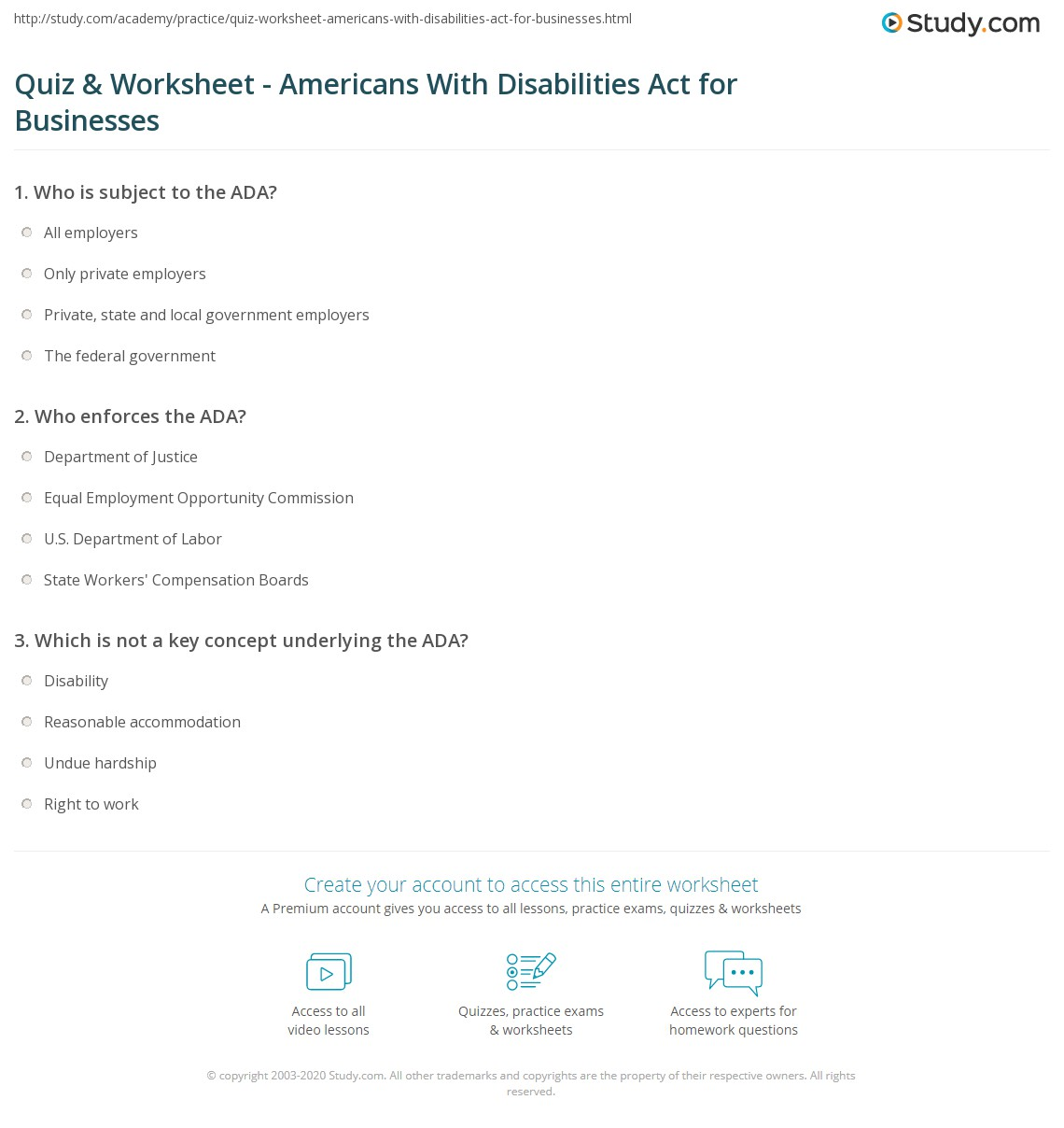 quiz & worksheet - americans with disabilities act for businesses
