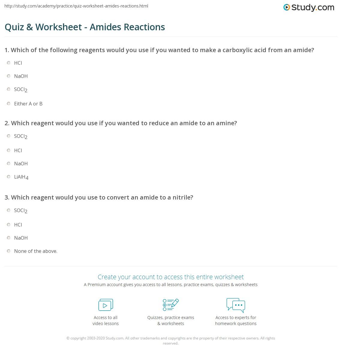 Quiz & Worksheet - Amides Reactions | Study com