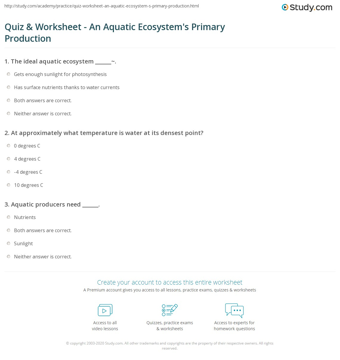 quiz worksheet an aquatic ecosystem 39 s primary production. Black Bedroom Furniture Sets. Home Design Ideas