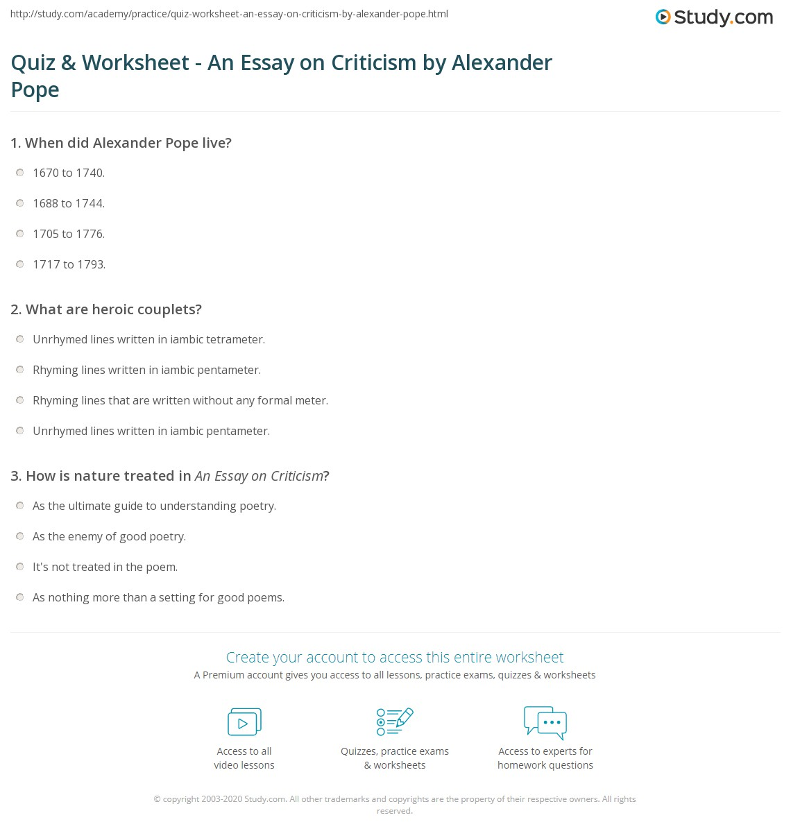 quiz worksheet an essay on criticism by alexander pope com print alexander pope s an essay on criticism summary analysis worksheet