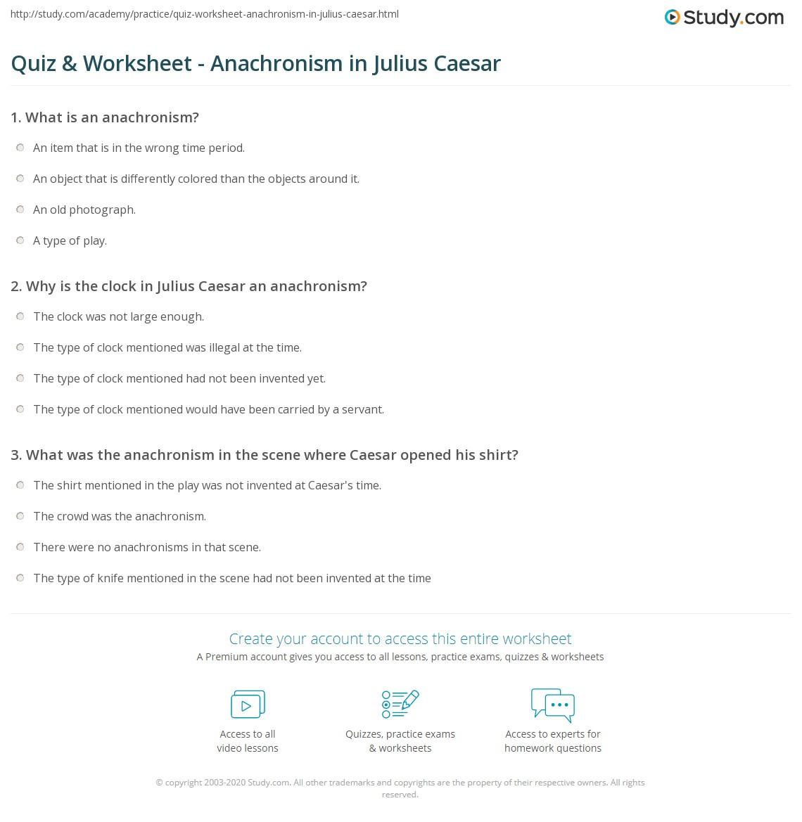 Quiz & Worksheet - Anachronism in Julius Caesar | Study.com